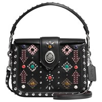 Coach Page Western Rivets Leather Across Body Bag Black Multi