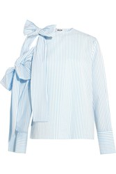 Msgm Bow Embellished Cold Shoulder Striped Seersucker Top Sky Blue
