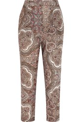 Zimmermann Epoque Paisley Print Cotton Voile Tapered Pants Burgundy