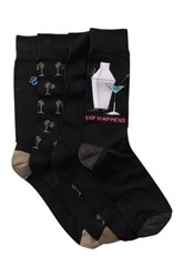 Tommy Bahama Sip Happens Crew Socks Pack Of 4 Black