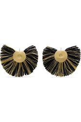 Katerina Makriyianni Fan Fringed Gold Tone Earrings Black