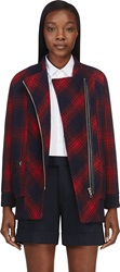 Band Of Outsiders Red And Navy Plaid Wool Plaid Coat