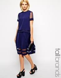 Girls On Film Tall Mesh Insert Midi Skirt Navy
