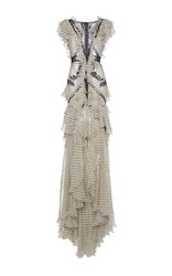 Roberto Cavalli Lace Insert Ruffle Long Dress Print