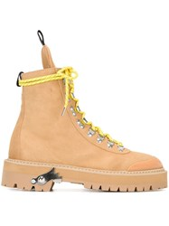 Off White Lace Up Ankle Boots Yellow And Orange