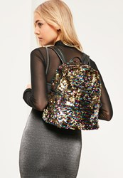 Missguided Black Sequin Backpack Multi