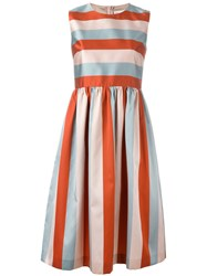 Red Valentino Striped Flared Dress
