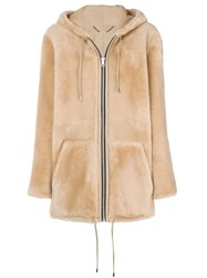 Barbara Bui Oversized Hooded Fur Jacket Nude And Neutrals