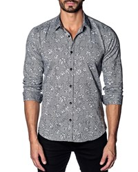 Jared Lang Modern Fit Floral Long Sleeve Shirt Grey Floral
