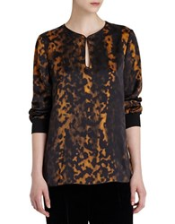 Lafayette 148 New York Kelsey Leopard Print Silk Blouse Black Multi
