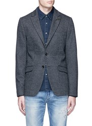 Scotch And Soda Wool Cotton Blend Herringbone Blazer Multi Colour Grey