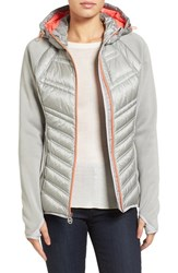 Michael Michael Kors Women's Mixed Media Hooded Down Jacket Silver
