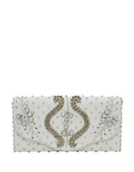 La Regale Regal Beaded Flap Clutch Ivory