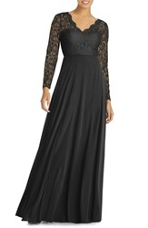 Dessy Collection Long Sleeve Lace And Chiffon Gown Black