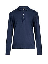 Massimo Alba Long Sleeved Cotton And Cashmere Blend Polo Shirt Navy