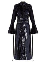 Ellery Tie Waist Velvet Effect Dress Navy