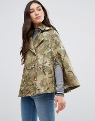 Cooper And Stollbrand Short Showerproof Cape With Hood In Camo Camoflage Green