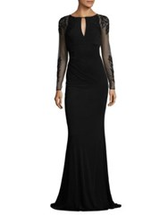 David Meister Beaded Sheer Sleeve Gown