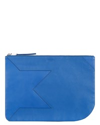 Jaeger Lusted Leather Clutch Blue