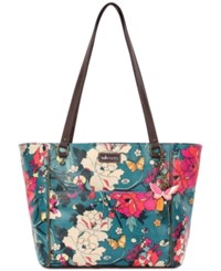 Sakroots Coated Canvas Tote Teal Flower Power Gold