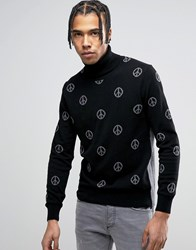 Love Moschino All Over Peace Print Jumper Black