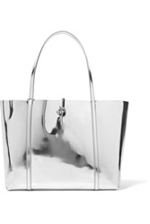 Kara Tie Mirrored Leather Tote Silver