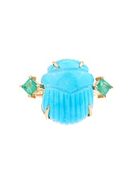 Silvia Furmanovich Tsavorite And Turquoise Yellow Gold Ring
