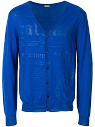 John Galliano Logo Print Cardigan Blue