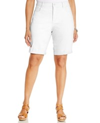 Nydj Plus Size Briella Cuffed Bermuda Shorts Optic White