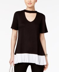 Cable And Gauge Keyhole Pleated Blouse Black With White Pleat