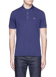 Isaia Logo Embroidered Polo Shirt Blue