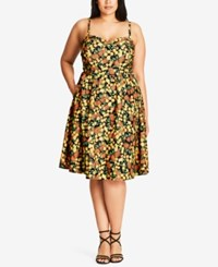 City Chic Trendy Plus Size Lemon Print Fit And Flare Dress Yellow