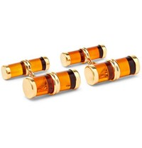 Trianon 18 Karat Gold Amber Cufflinks Tan