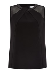 Tahari By Arthur S. Levine Asl Black Sleeveless Top With Pleather Collar And Mes Black