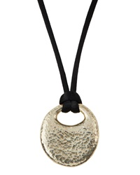 Gurhan Sterling Pebble Pendant And Silk Cord Necklace