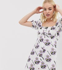 Reclaimed Vintage Inspired Button Tea Dress In Logo Floral Print White
