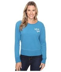 Life Is Good Painted Go To Crew Denim Blue Women's Long Sleeve Pullover