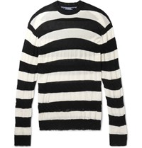 Junya Watanabe Distressed Striped Cotton Sweater Black