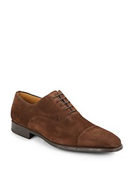 Magnanni For Saks Fifth Avenue Suede Oxfords Brown