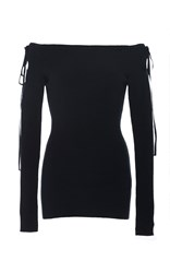 Adeam Ribbed Off The Shoulder Top Navy