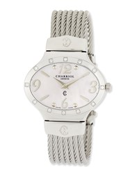 Charriol Darling Mother Of Pearl And Diamond Micro Cable Bracelet Watch Silver