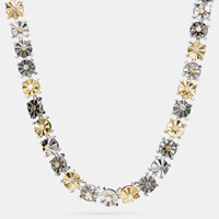 Coach Mixed Daisy Rivet Choker Necklace Gold Silver