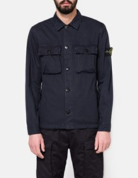 Stone Island Brushed Cotton Overshirt Navy Blue