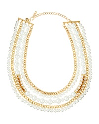 Kenneth Jay Lane Multi Row Pearly Bead And Rhinestone Chain Necklace