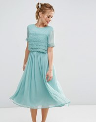 Asos Salon Layer Lace Crop Top Midi Prom Dress Green
