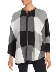 Ivanka Trump Roundneck Cardigan Cape Black Ivory