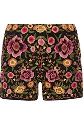 Alice Olivia Marisa Embroidered Stretch Cotton Shorts Black