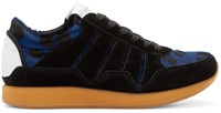 Dolce And Gabbana Black And Blue Calf Hair Sneakers