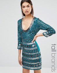 Maya Tall Dress With Scoop Neck And Heavy Embellishment Emerald Green