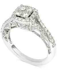 Macy's Diamond Cluster Engagement Ring 1 1 10 Ct. T.W. In 14K White Gold